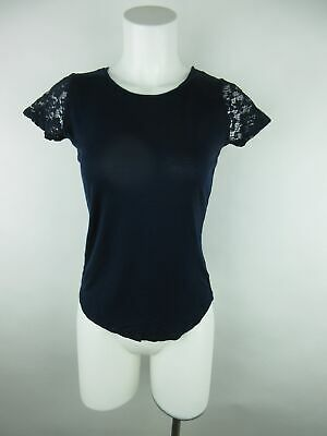 Forever 21 Women's sz S Blue Short Sleeve Floral Lace Trim Crewneck Blouse Top