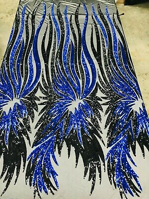 black/royal blue wings,phenix feather sequin design 4-way stretch prom,gown yard