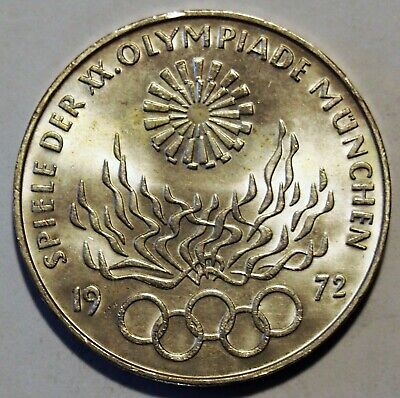 1972 'D' - Germany - Munich Olympic Games 10 Mark Silver coin - Nice Grade