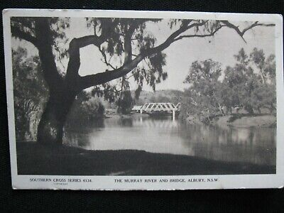 Southern Cross Series Real Photo P Card Murray River & Bridge Albury NSW 1940s