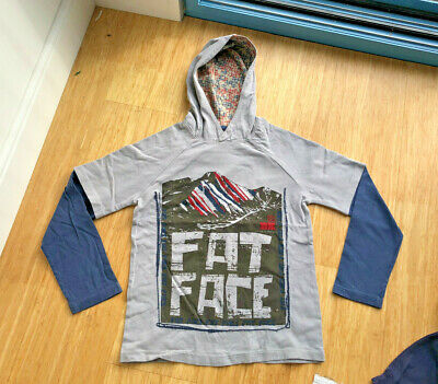 Fat Face Taupe Grey and Navy Layered 100% Cotton Hoody Sweat Top 10 - 11 Years