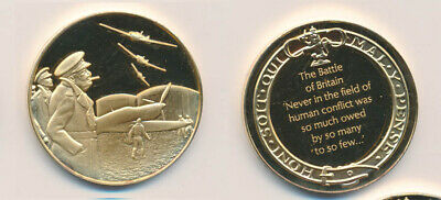Great Britain: Churchill WWII Battle of Britain 25.6g Gilt Sterling Silver Medal
