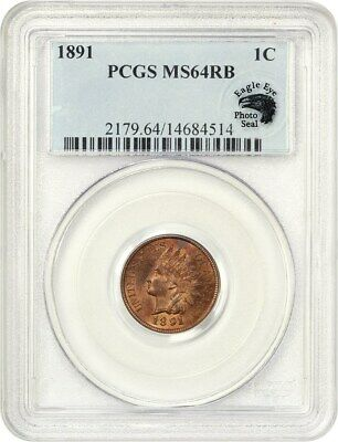 1891 1c PCGS MS64 RB - Indian Cent