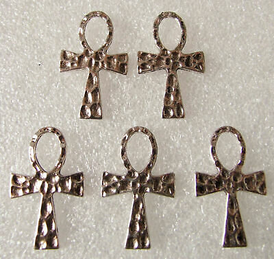 Job Lot of 32 Antique Silvertone Ankh Eygyptian Key of Life Hammered Charms