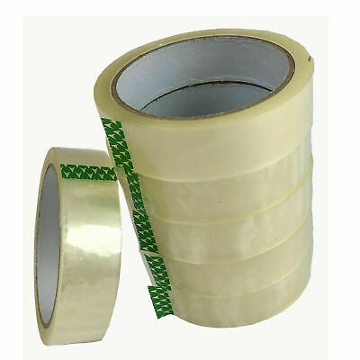 """CLEAR TAPE 12 ROLLS PARCEL PACKING SELLOTAPE 1/"""" 24MM X 66M CELLOTAPE PACKAGING"""