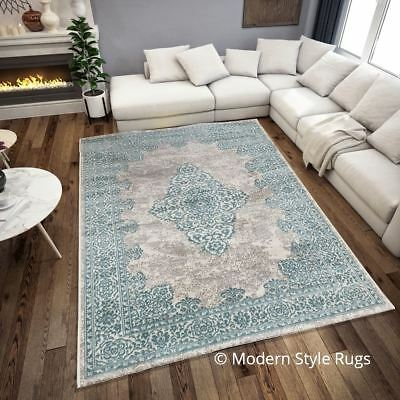 New Royal Traditional Grey Duck Egg Blue Antique Look Home Floor Rug 160x230cm