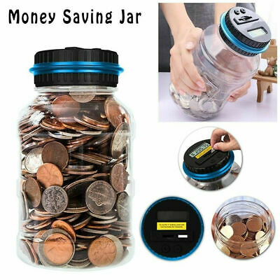 Coin Counting Piggy Bank Saving LCD Counter Money Jar Digital Change Box Gifts L
