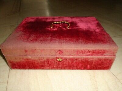 Vintage  Worn Velvet Fry Sewing Box , Storage Box Desk Top Box With Carry Handle