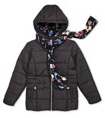 S Rothschild & Co Big Girls Hooded Puffa/Puffer Jacket with Scarf  Black Age 7-8