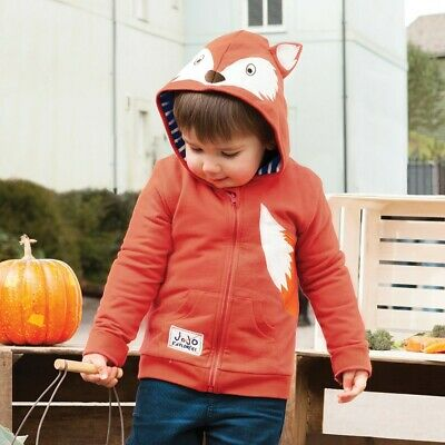 JoJo Maman Bebe Kids Baby Fox Zip-Up Hoodie D7797