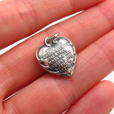 Antique Victorian Sterling Silver Mizpah Puffy Heart Collectible Charm Pendant