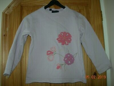 Mini Boden Sweatshirt Age 9 - 10 Girl's Pink Lilac Floral Embroidered