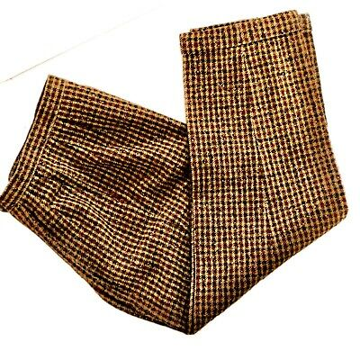 Vtg. PENDLETON High Waisted Tweed Houndstooth Wool Cuffed Pants Trousers SZ 10