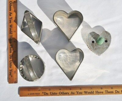 Lot of 5 antique VTG Cookie Cutters Tin Steel Diamond Heart Fluted