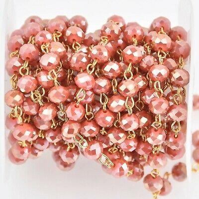 1 yard 8mm Crystal Rosary Chain, Tomato Red, gold wire, 8mm rondelle fch1170a