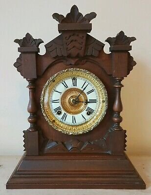 Antique ANSONIA New York Striking Parlour Mantle 8 Day Clock Walnut Case c.1895