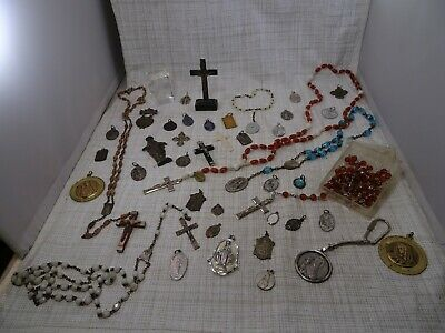 Large Lot Of Vintage And Antique Religious Medal and Rosary Beads and Etc