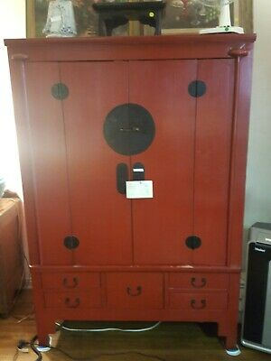 Vintage Chinese Flower Bird Graphic Accent Armoire Cabinet vs634