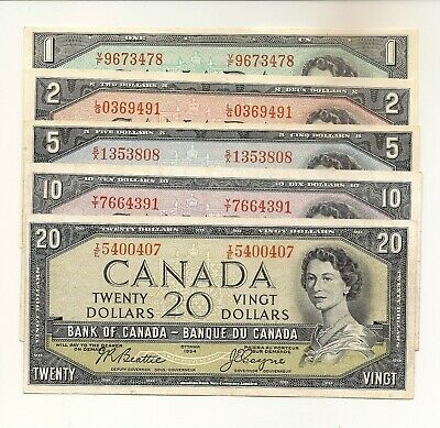 Canada 1954 Set Of 5 Notes $1, $2, $5, $10, $20. Modified Portrait Vf/Ef #407