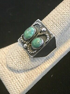 Antique Southwest Navajo Old Pawn Sterling Silver & Turquoise Handmade Ring