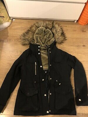 Topshop Navy Blue Faux Fur Line Hooded Coat Size 8 - Needs Small Repair