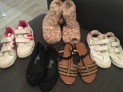 Girls Shoe Bundle Size 10 11 12 Adidas Trainers Clarks Pink Leopard Slippers