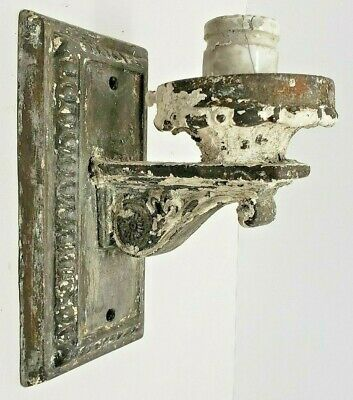 Antique Cast Iron Porch Wall Bracket Victorian Era Lights Sconce Original