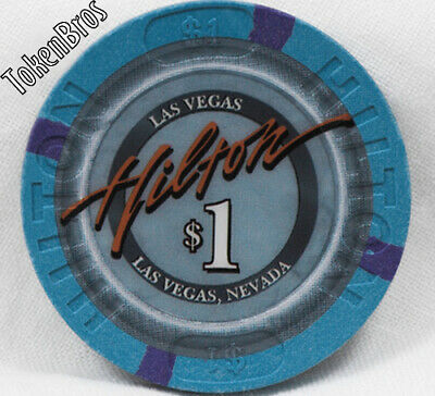 $1 ONE DOLLAR POKER GAMING CHIP LAS VEGAS HILTON HOTEL CASINO 8th ISSUE NEVADA