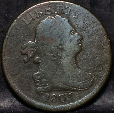 1805 Small 5 Stems And Wreath Draped Bust Half Cent   Id#Hh141