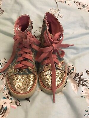 M&S Girls Boots 12 Sparkly Trainers High Tops