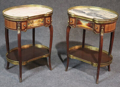 Beautiful Pair French Painted Bronze Figural Marble Nightstands End Tables