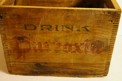 Antique Moxie Pureoxia Wooden Carrier Crate with Dovetail Corners Boston Mass