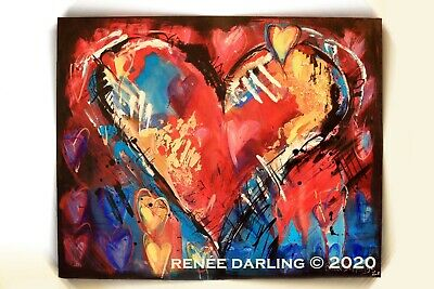 ABSTRACT 24 x 30 HEART Valentine Day Red White Blue RENEE DARLING Art Wall Decor