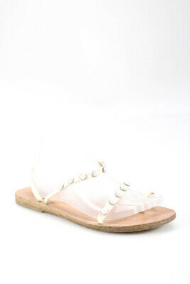 Ancient Greek Sandals  Womens Strappy Sandals Cream Studded Leather Size 40 10