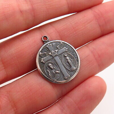 Antique Victorian Sterling Silver Sacred Heart Jesus St Mary Religious Pendant