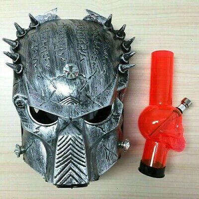 Predator Cosplay Silicone Gas Mask Smoking Acrylic Bong W/Removable Water Pipe