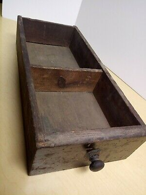 Early ANTIQUE Primitive WOOD BOX DRAWER With Old Hardware