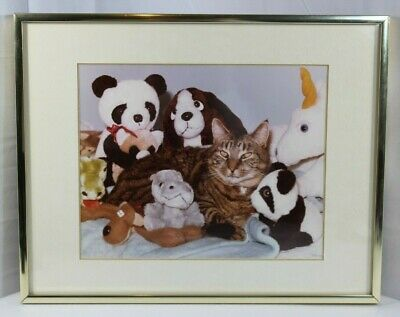 "Vintage Framed Cat w/ Stuffed Animals Picture ""Cat et Amis"""