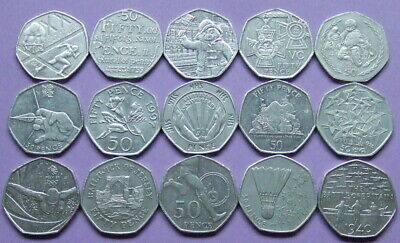 IOM, UK, Gibraltar etc - 15 Small Type 50p coins- T.T., Olympics etc.....D70
