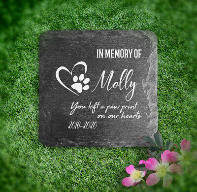 Memorial Plaque For Pet Cat Dog Slate Stone Heart Paw Grave Marker Personalised