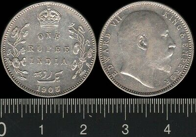India: 1905C One Rupee King Edward VII, 1 Rupee silver