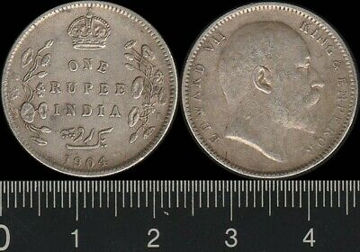 India: 1904C One Rupee King Edward VII, 1 Rupee silver