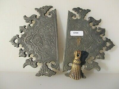 Vintage Brass Cupboard Handles Pulls Cabinet Old Antiques Etched Plate Asian