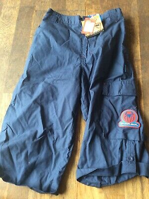 Bnwt Boys Navy 3/4 Superman Themed Cotton Trousers From Marks And Spencer Age 9