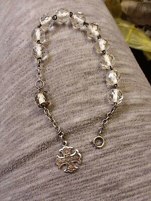 Antique French Sterling Silver Clear Crystal Glass Rosary Bracelet