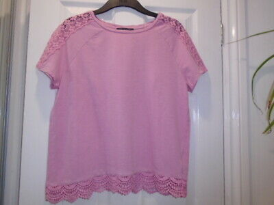 Pretty pink relaxed fit summer top, lace detail, MARKS AND SPENCER, size 12