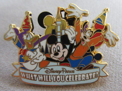"Disney Parks ""What Will You Celebrate"" Pin - Mickey, Goofy and Donald"