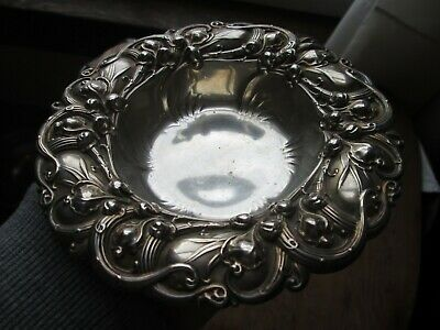 Antique Ornate ART NOUVEAU Period  STERLING -  FLORAL   BOWL  by  WHITING