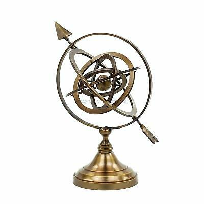Authentic Nautical Artifact Sphere Globe Pierced Arrow Brass Collectible NGN307