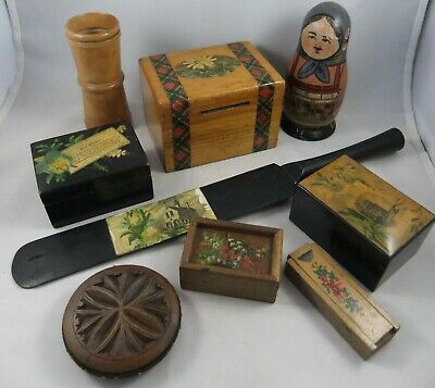 Qty Antique Treen - Mauchline Ware, Pin Wheel, Dice Shaker, Russian Doll Etc